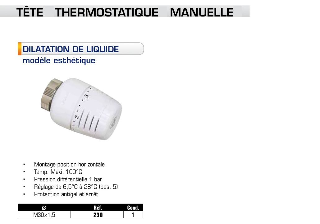 Robinet thermostatique somatherm t te corps pour - Reglage robinet thermostatique ...