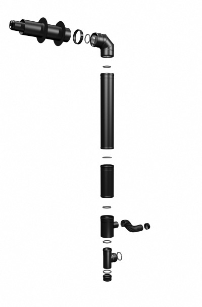 kit conduit inox concentrique pour po le granul s tubest 80 125 coax pellet 4750hb1 noir. Black Bedroom Furniture Sets. Home Design Ideas
